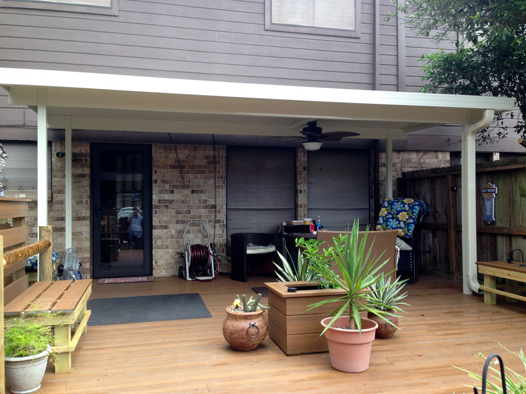 Free standing aluminum patio cover in clear lake tx a 1 for Freestanding patio cover